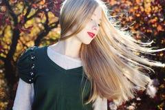 Muchacha bonita con los pelos del vuelo en hojas coloridas Imagenes de archivo