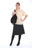 Muchacha bonita de la enseñanza secundaria en uniforme escolar Fotos de archivo