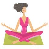 Muchacha bonita de la meditación ilustración del vector