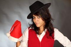 Muchacha bonita de la Navidad en vestido rojo Foto de archivo libre de regalías