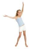 Muchacha bonita del adolescente con las manos para arriba Imagenes de archivo