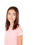 Muchacha bonita del preteenager con la camiseta rosada Fotografía de archivo