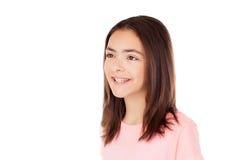 Muchacha bonita del preteenager con la camiseta rosada Foto de archivo