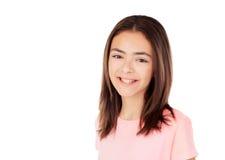 Muchacha bonita del preteenager con la camiseta rosada Imagen de archivo libre de regalías