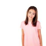 Muchacha bonita del preteenager con la camiseta rosada Fotografía de archivo libre de regalías