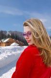 Muchacha bonita el el invierno escénico imagen de archivo