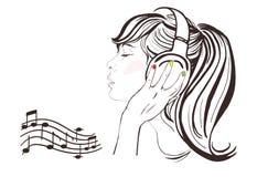 Muchacha bonita en auriculares. Ejemplo a mano ilustración del vector