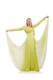 Muchacha bonita en el vestido verde elegante aislado encendido Imágenes de archivo libres de regalías
