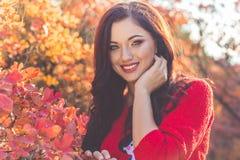 Muchacha bonita en hojas de otoño coloridas Imágenes de archivo libres de regalías