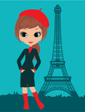 Muchacha bonita en la París Imagenes de archivo