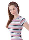 Muchacha bonita en la sonrisa de la camiseta Imagen de archivo libre de regalías