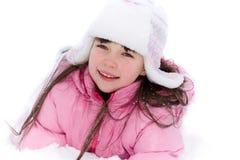 Muchacha bonita en nieve Imágenes de archivo libres de regalías