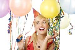 Muchacha bonita en partido con los globos Fotografía de archivo libre de regalías