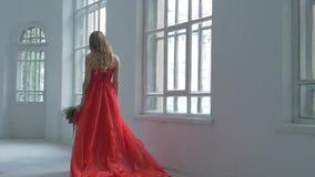 Muchacha bonita en vestido rojo magnífico que camina más allá de almacen de video