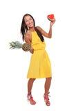 Muchacha bonita feliz con la fruta Fotografía de archivo libre de regalías