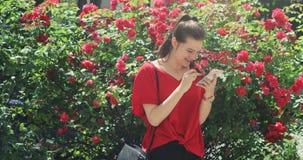 Muchacha bonita joven que celebra noticias felices de su smartphone del phablet almacen de metraje de vídeo