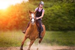 Muchacha bonita joven que monta un caballo con las hojas retroiluminadas detrás en s Foto de archivo libre de regalías
