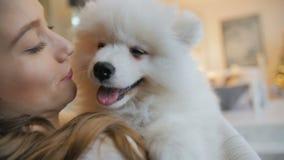 Muchacha bonita que juega con el perro de perrito del samoyedo dentro almacen de metraje de vídeo