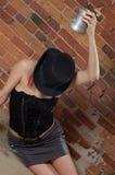 Muchacha borracha con el sombrero 2 Fotos de archivo libres de regalías