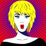Muchacha brillante con el asombro en la cara, emociones Vector en arte pop retro del estilo ilustración del vector