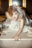 Muchacha brillante con los pelos rojos y velo nupcial Imagenes de archivo