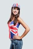Muchacha británica que sonríe en la cámara Foto de archivo