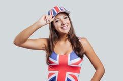 Muchacha británica que sonríe en la cámara Fotos de archivo