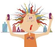 Muchacha cómica con el pelo multicolor Fotografía de archivo libre de regalías