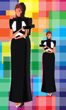 Muchacha caliente del vestido negro Fotos de archivo