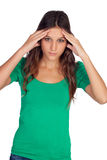 Muchacha casual con dolor de cabeza Foto de archivo libre de regalías