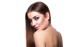 Muchacha caucásica adulta atractiva con el retrete sano perfecto de la piel y del pelo Fotos de archivo