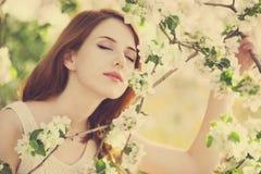 Muchacha cerca del árbol del flor Fotos de archivo