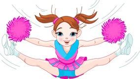 Muchacha cheerleading linda que salta en aire Fotos de archivo libres de regalías
