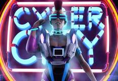 Muchacha cibernética en frente del traje libre illustration