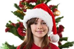 Muchacha como Papá Noel Foto de archivo