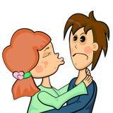 Muchacha con acné y su novio Stock de ilustración