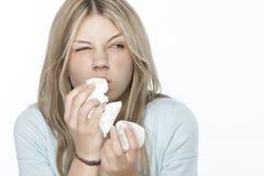 Muchacha con alergias Imágenes de archivo libres de regalías