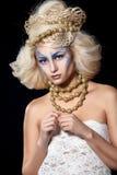 Muchacha con arte creativo de la cara Foto de archivo libre de regalías