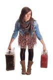 Muchacha con bagaje Fotos de archivo libres de regalías