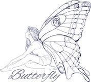 Muchacha con buterfly las alas Imagen de archivo