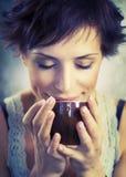 Muchacha con café Foto de archivo libre de regalías