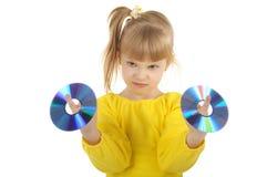 Muchacha con Cd Fotos de archivo