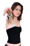 Muchacha con claves foto de archivo libre de regalías