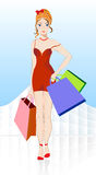 Muchacha con compras Fotos de archivo libres de regalías