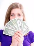 Muchacha con dólar americano Foto de archivo libre de regalías