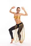 Muchacha con danzas del maquillaje del payaso Fotografía de archivo libre de regalías