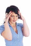 Muchacha con dolor de cabeza Imágenes de archivo libres de regalías