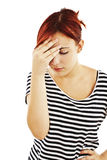 Muchacha con dolor de cabeza Foto de archivo libre de regalías