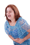 Muchacha con dolor de estómago Fotos de archivo libres de regalías