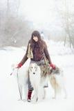 Muchacha con dos galgos en invierno, nieve que cae Fotos de archivo